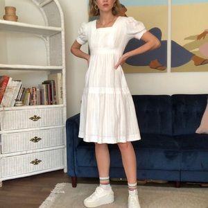 Vintage White Peasant Dress